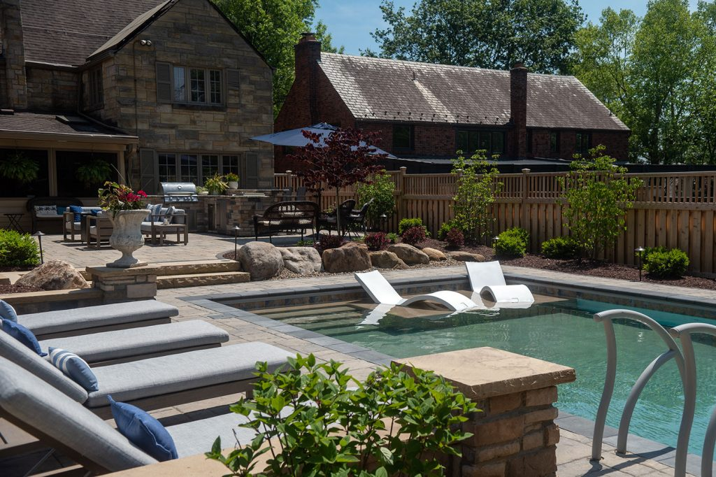 Pool with Loungers in Mt. Lebanon
