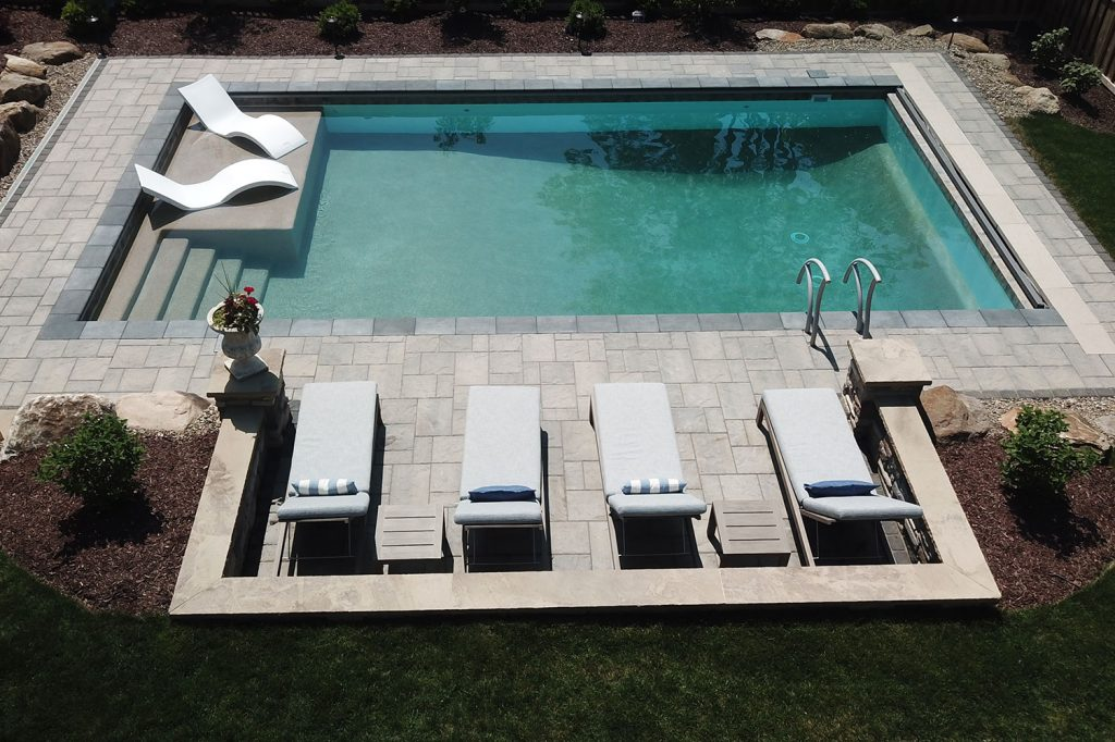 Pool with tanning ledge in Mt. Lebanon
