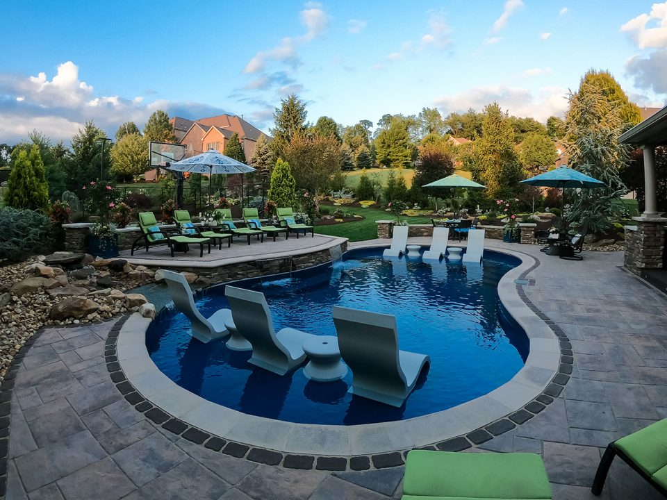 Custom Pool and Raised Paver Patio in Venetia