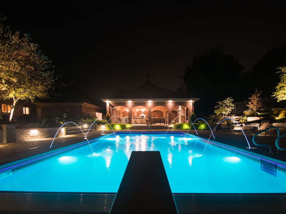 Lighted Custom In-Groun Pool in Eighty Four