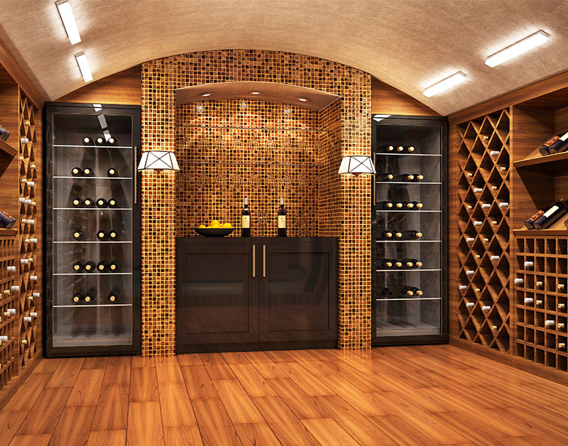 Lighted Basement Wine Cellar