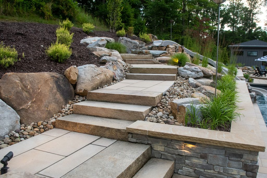 Paver Walkway with Sandstone Steps
