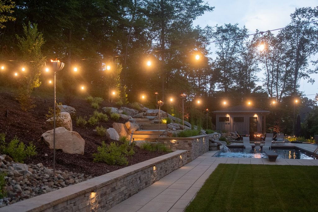 Twilight View with Landscaping