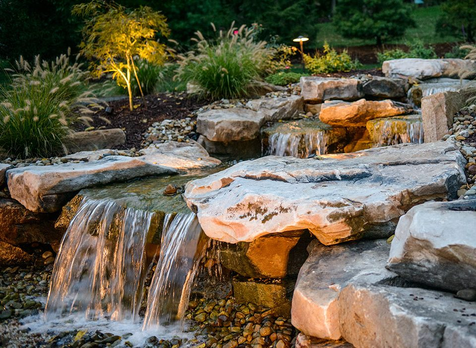 waterfall with boulders